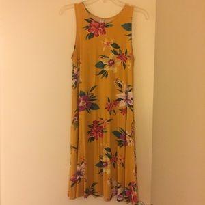 Yellow flowered Old Navy T-shirt Dress (M)